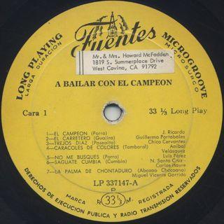 V.A. / A Bailar Con El Campeon label