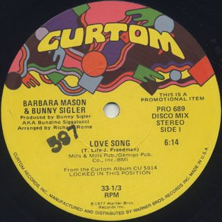 Barbara Mason & Bunny Sigler / Love Song back