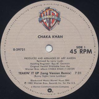 Chaka Khan / Tearin' It Up label