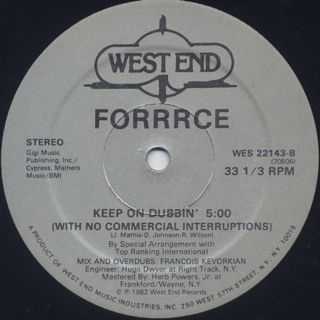 Forrrce / Keep On Dancin' label