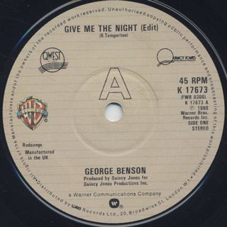 George Benson / Give Me The Night c/w Breezin' label