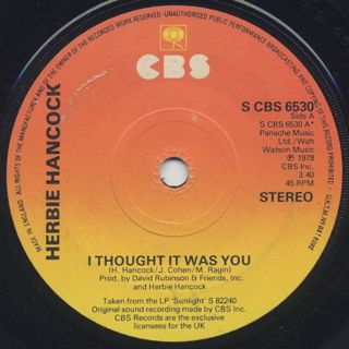 Herbie Hancock / I Thought It Was You c/w No Means Yes