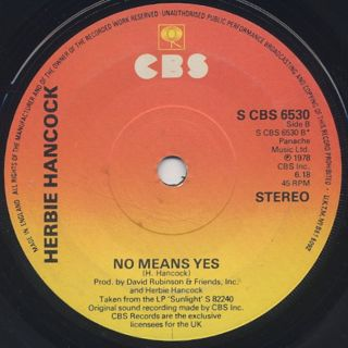Herbie Hancock / I Thought It Was You c/w No Means Yes back