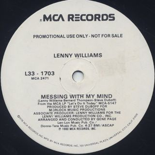 Lenny Williams / Messing With My Mind label