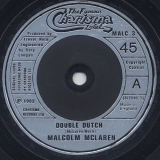 Malcolm Mclaren / Double Dutch c/w She's Looking Like A Hobo (Scratch) label