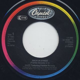 Maze featuring Frankie Beverly / Back In Stride c/w Joy And Pain label
