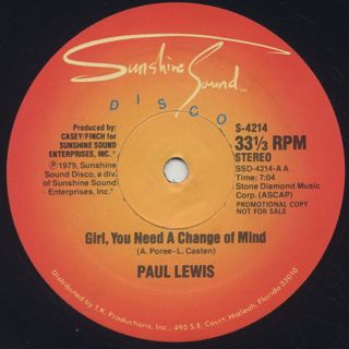 Paul Lewis / Girl, You Need A Change Of Mind c/w Inner City Blues label