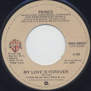 Prince / I Wanna Be Your Lover c/w My Love Is Forever back