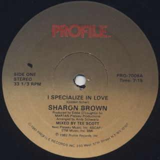 Sharon Brown / I Specialize In Love back