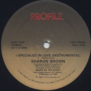 Sharon Brown / I Specialize In Love label