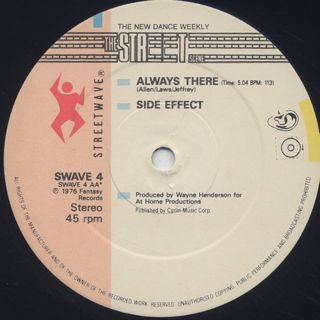 Side Effect / Keep That Same Old Feeling c/w Always There label