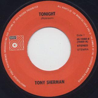 Tony Sherman / Tonight c/w Slippin' Into Darkness ② back