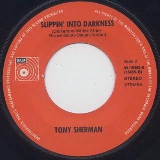 Tony Sherman / Tonight c/w Slippin' Into Darkness ② label