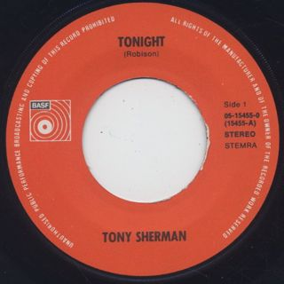 Tony Sherman / Tonight c/w Slippin' Into Darkness label