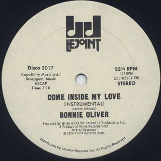 Bonnie Oliver / Come Inside My Love back