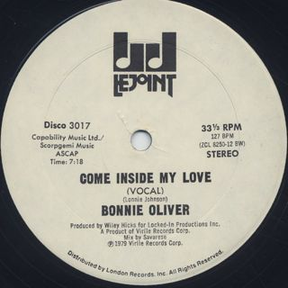 Bonnie Oliver / Come Inside My Love label