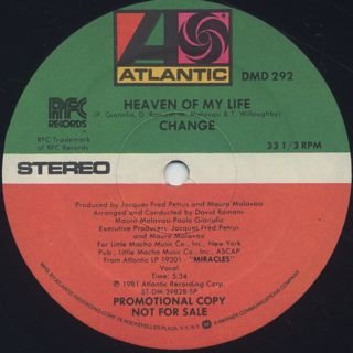 Change / Miracles c/w Heaven Of My Life label