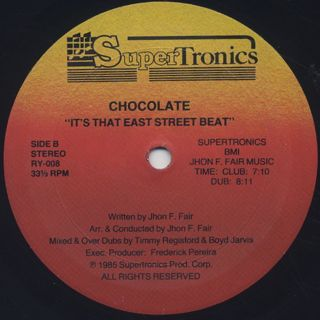 Chocolate / It's That East Street Beat label