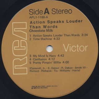 Chocolate Milk / Action Speaks Louder Than Words label