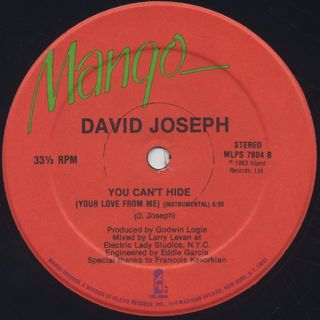 David Joseph / You Can't Hide (Your Love From Me) label
