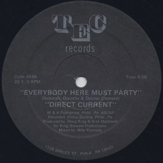 Direct Current / Everybody Here Must Party label