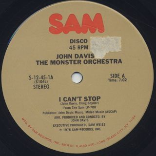 John Davis & The Monster Orchestra / I Can't Stop back