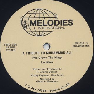 Le Stim / A Tribute To Muhammad Ali (We Crown The King) label