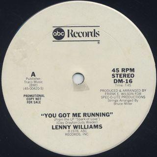 Lenny Williams / You Got Me Running back