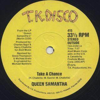 Queen Samantha / Take A Chance back