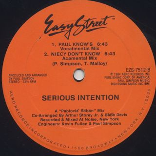 Serious Intention / You Don't Know back