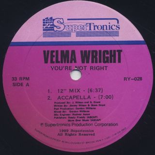 Velma Wright / You're Not Right back