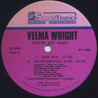 Velma Wright / You're Not Right label