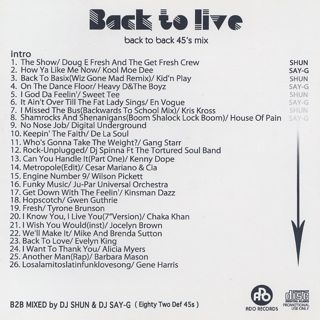 DJ Shun & DJ Say-G / Back To Live back