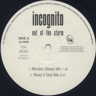 Incognito / Out Of The Storm label