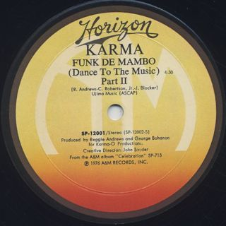 Karma / Funk De Mambo (Dance To The Music) label