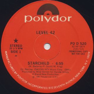 Level 42 / Starchild c/w Turn It On label