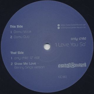 Only Child / I Love You So label