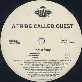 A Tribe Called Quest / Find A Way c/w Steppin' It Up label