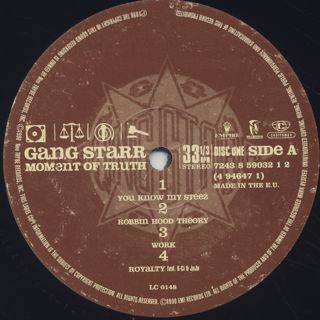 Gang Starr / Moment Of Truth (3LP) label