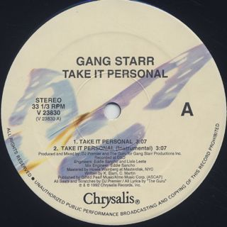 Gang Starr / Take It Personal label