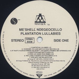 Me'Shell NdegéOcello / Plantation Lullabies label