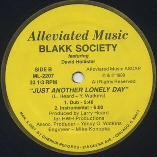 Blakk Society Featuring David Hollister / Just Another Lonely Day back