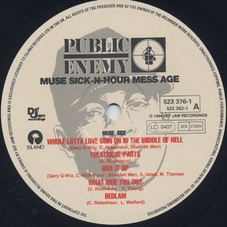 Public Enemy / Muse Sick-N-Hour Mess Age label