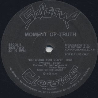 Avenue B Boogie Band / Moment Of Truth - Bumper To Bumper c/w So Much For Love back