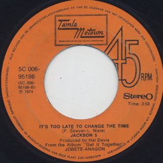 Jackson 5 / Dancing Machine c/w It's Too Late To Change The Time back