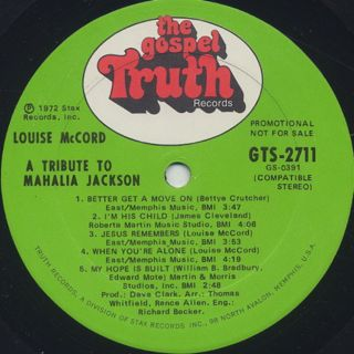 Louise Mccord / A Tribute To Mahalia Jackson label