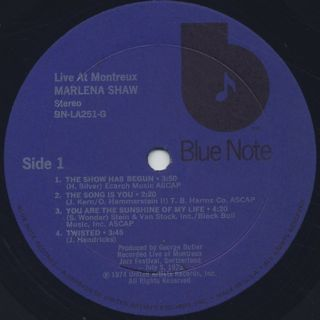 Marlena Shaw / Live At Montreux label