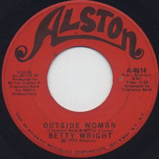 Betty Wright / Baby Sitter c/w Outside Woman back
