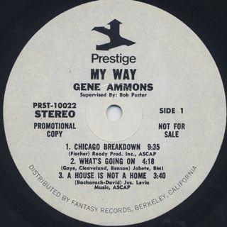 Gene Ammons / My Way label