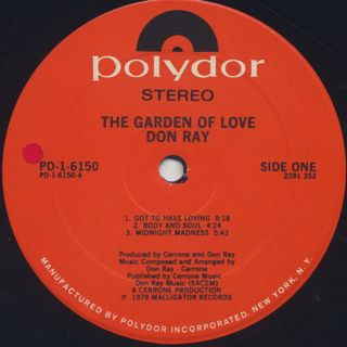 Don Ray / The Garden Of Love label